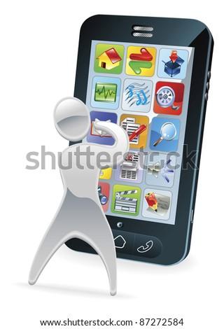 Metallic cartoon mascot character phone concept - stock photo