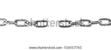 metallic chain isolated on white background closeup