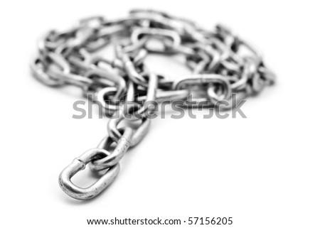metallic chain on a white background - stock photo