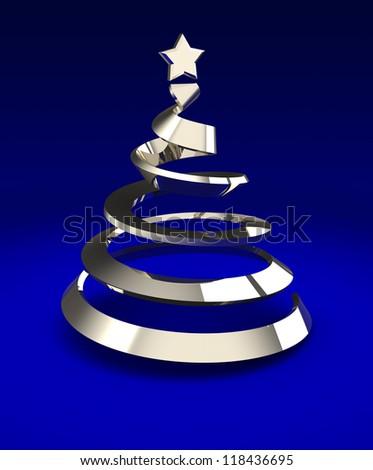 Metallic christmas tree over blue background, 3d image - stock photo