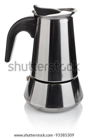 metallic coffee maker espresso isolated on white background - stock photo