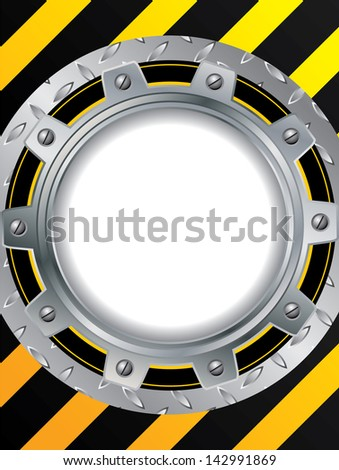 Metallic cogwheel background with striped black and yellow colors - stock photo