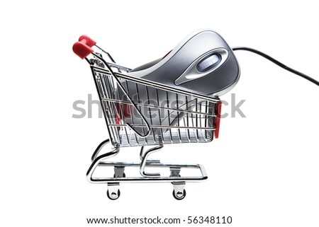 Metallic color computer mouse placed in a miniature-shopping cart. - stock photo