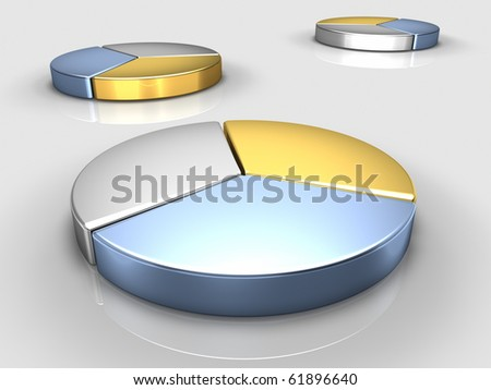 Metallic color pie charts, a large one in front, reflective floor