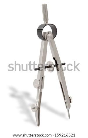 metallic compass isolated on white  - stock photo