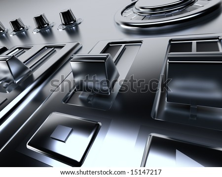metallic control panel for management of levels of sounding and record - stock photo