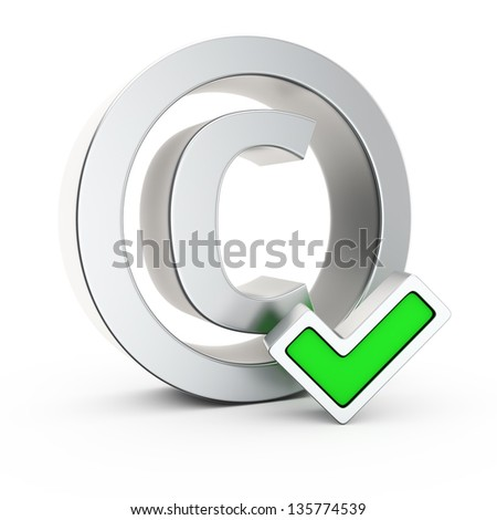 Metallic copyright symbol with small green tick mark - stock photo
