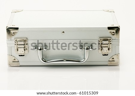 metallic cosmetic carry case - stock photo