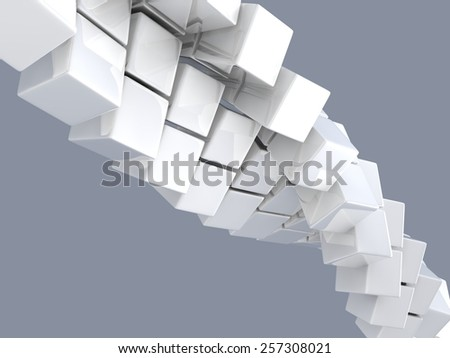 metallic cubes on gray background, digitally generated image