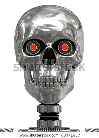 Metallic cyborg head with red eyes isolated on white. high resolution 3D image. - stock photo