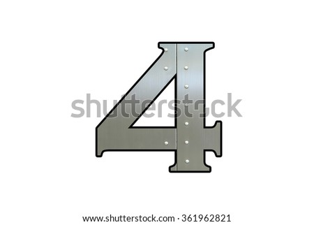 Metallic digit four with nut isolated on white background, Number 4 - stock photo