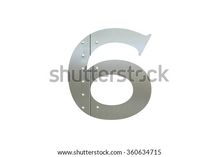 Metallic digit six with nut isolated on white background, Number 6 - stock photo