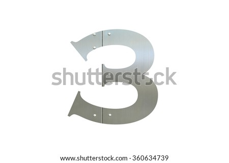 Metallic digit three with nut isolated on white background, Number 3 - stock photo