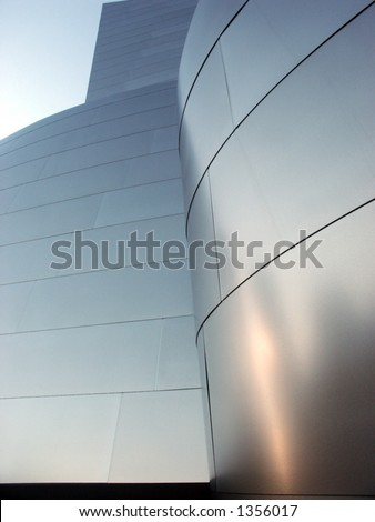 Metallic Disney Hall building, downtown Los Angeles. - stock photo