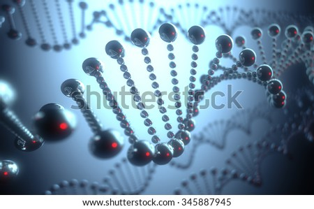 Metallic DNA helix in a futuristic concept of the evolution of science and medicine.