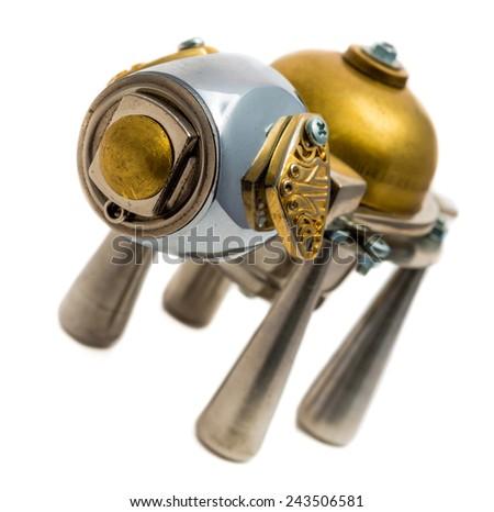 Metallic dog. Cyberpunk style. Bronze and steel parts. Retro. - stock photo