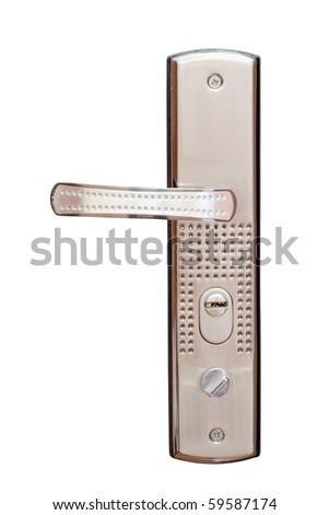 metallic doorknob isolated on a white background - stock photo