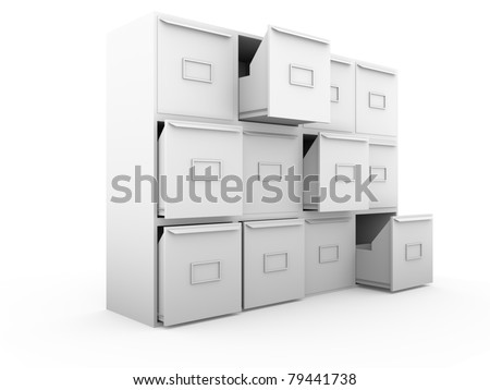 Metallic drawers. office furniture for archiving and cataloging information - stock photo
