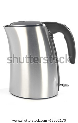 Metallic electric kettle isolated on white background - stock photo