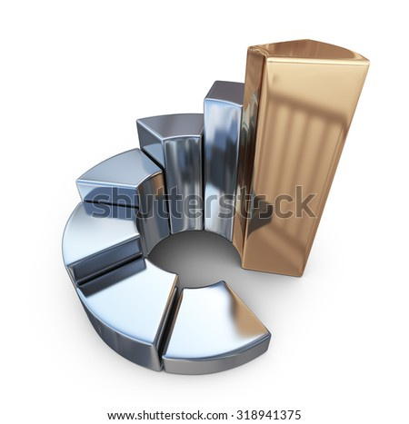 Metallic finance chart, business graph. 3D Icon isolated on white background - stock photo