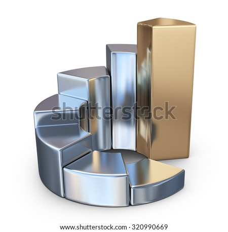 Metallic finance chart, business graph. 3D Icon isolated on white background