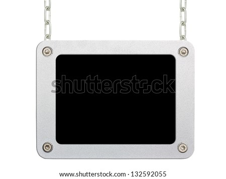metallic frame picture hanging by chains on isolated white background - stock photo