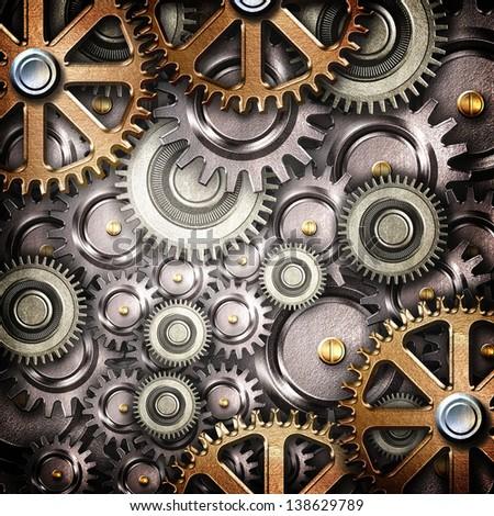 metallic gears background - stock photo