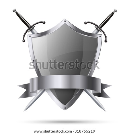 Metallic glittering shield and two swords with ribbon isolated - stock photo