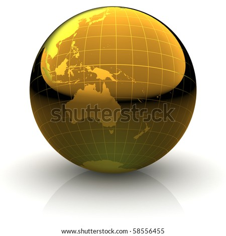 Metallic golden globe illustration with highly detailed continents and geographical grid facing Australia and Oceania - stock photo