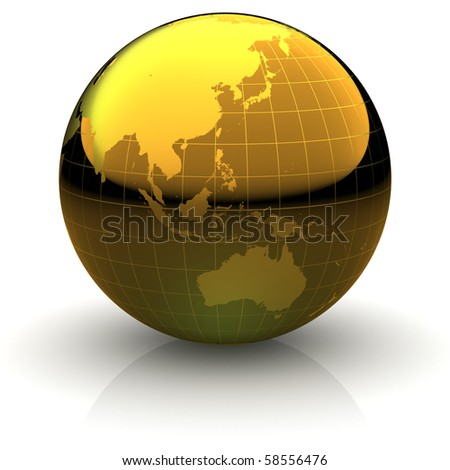 Metallic golden globe illustration with highly detailed continents and geographical grid facing Australia and Eastern Asia - stock photo