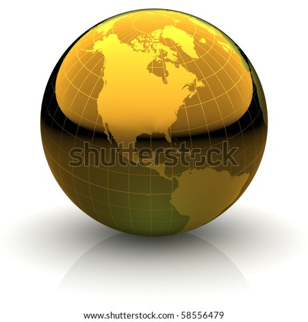 Metallic golden globe illustration with highly detailed continents and geographical grid facing North America - stock photo