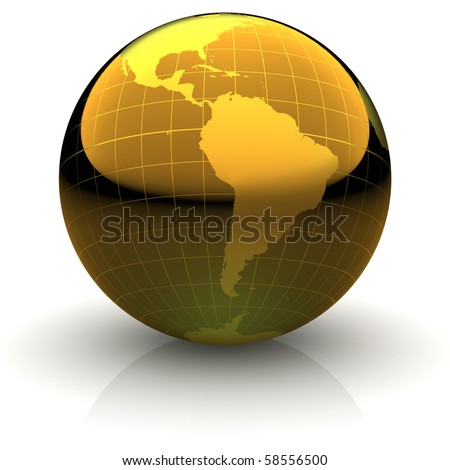 Metallic golden globe illustration with highly detailed continents and geographical grid facing South America - stock photo