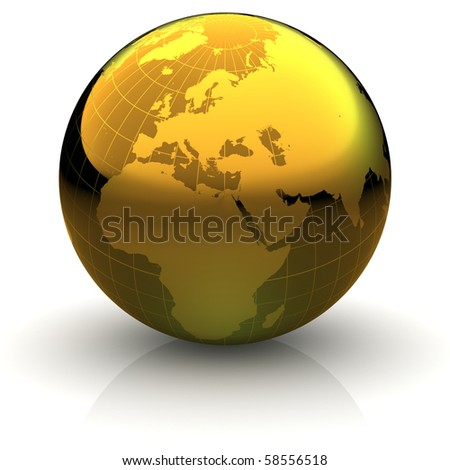 Metallic golden globe illustration with highly detailed continents and geographical grid facing Europe