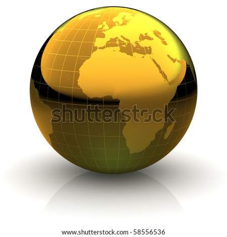 Metallic golden globe illustration with highly detailed continents and geographical grid facing Africa - stock photo