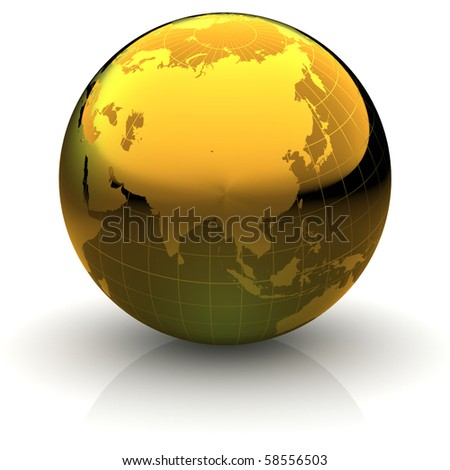Metallic golden globe illustration with highly detailed continents and geographical grid facing Asia