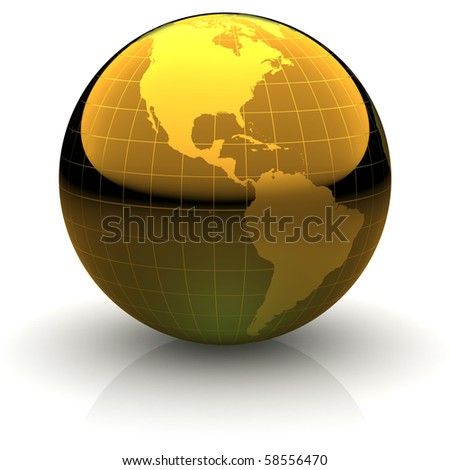 Metallic golden globe illustration with highly detailed continents and geographical grid facing the Americas - stock photo