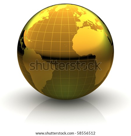 Metallic golden globe illustration with highly detailed continents and geographical grid facing the Atlantic ocean - stock photo