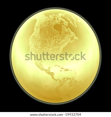 Metallic golden globe illustration with highly detailed terrain facing North America - 3d made - stock photo