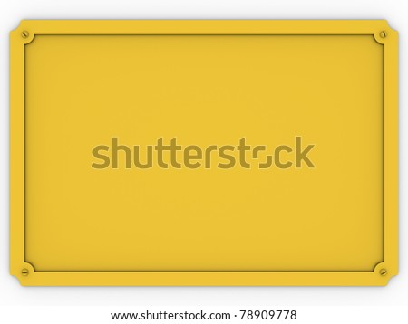 Metallic golden plaque over a white background - stock photo