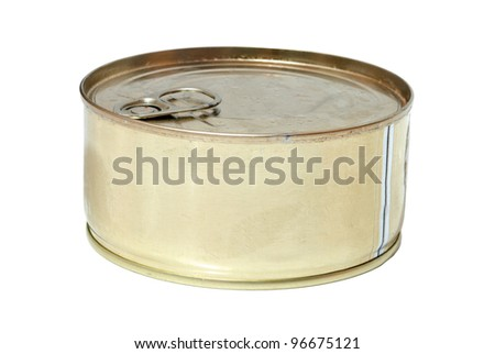 metallic goods can with key. Isolated on white. - stock photo