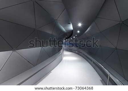 Metallic gray / blue corridor (interior) Technology background - stock photo
