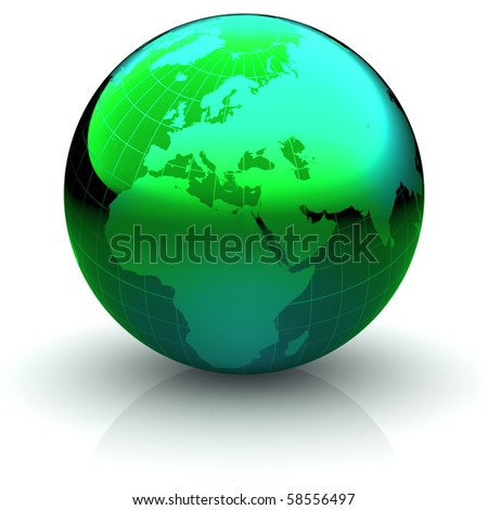 Metallic green globe with highly detailed continents and geographical grid  facing Europe