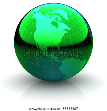 Metallic green globe with highly detailed continents and geographical grid  facing North America