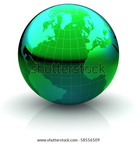 Metallic green globe with highly detailed continents and geographical grid  facing Northern Atlantic