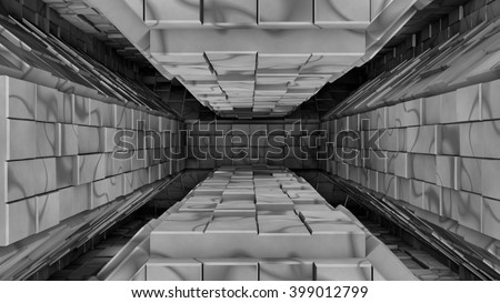 Metallic grey  futuristic space tunnel entrance 3d rendering - stock photo