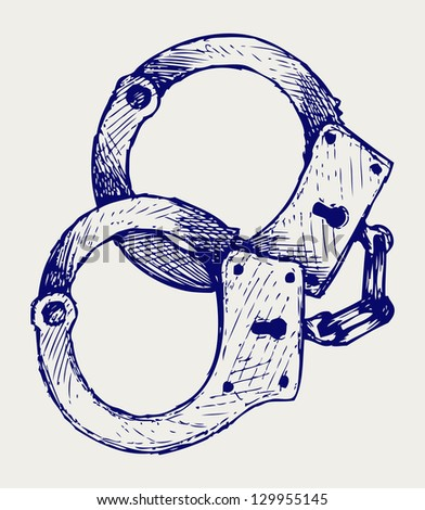 Metallic handcuffs. Doodle style. Raster version - stock photo