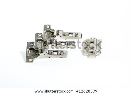 Metallic hinge systems isolated on white background. - stock photo