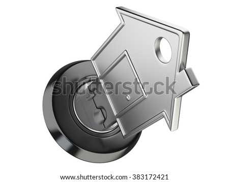 Metallic home key in keyhole. Real estate concept. 3D image isolated on a white