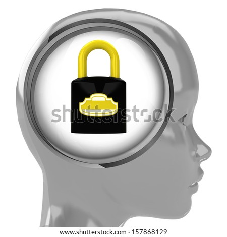 metallic human head with brain cloud with closed padlock inside illustration
