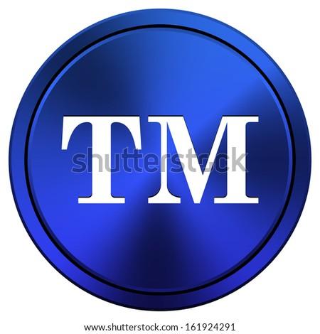 Metallic icon with white design on blue background - stock photo